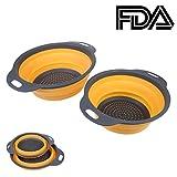 2Stück klappbar abtropfsieben, Silikon Filter Korb Set klappbar für platzsparendes, Küche Sieb für Lebensmittel, Obst, Gemüse (grau orange)