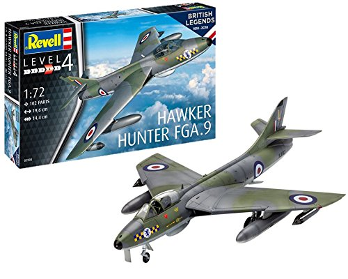 Revell 03908 British Legends Hawker Hunter FGA.9 Control Modellbausatz, 19,6 cm
