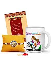 Tied Ribbons Rakhi Gifts For Brother Combo (Designer Rakhi, Printed Coffee Mug, Rakshabandhan Special Card, Roli...