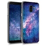 kwmobile Cover per Samsung Galaxy J6 - Back Case Custodia Posteriore in Silicone TPU per Smartphone - Backcover Rosa/Fucsia/Blu Scuro