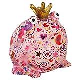 Pomme Pidou Hucha King Frog Freddy | Hucha Rana Rey Original en Cerámica | Rosa con Pájaros |...