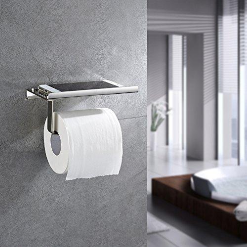 Preisvergleich Produktbild Auralum Chrom Toilettenpapierhalter WC-Papierhalter Handy Rollen Halter Klopapierhalter Toilettenpapierhalter Edelstahl WC-Papierhalter Klopapier Rollen Klopapierhalter