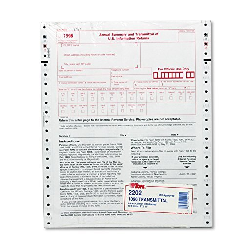 TOP 2202 TOPS 1096 Tax Form - 2 Part - 11 x 8.50 Sheet Size - White - 10 / Pack by Tops