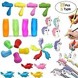 Bleistift-Handschrift-Griff-Werkzeuge, ergonomischer Fingergriff-Halter, Trainings-Set für Kinder, Schreibhilfe, Haltungskorrektur, Utensilien für Kinder und Erwachsene (28 Teile, 5 Typen)