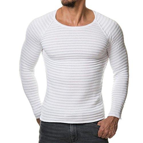 Feixiang maglia maglione uomo, uomo autunno inverno casuale v-collo uomo slim maglioni cime camicetta-miscela di cotone (bianco, l)