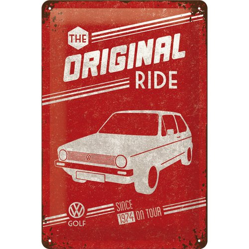 targa-in-metalo-20-x-30-cm-vw-golf-the-original-ride