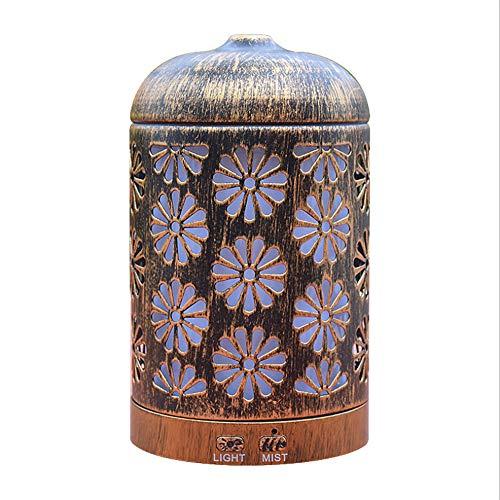 LF Ätherisches Öl Diffusor Schmiedeeisen Aromatherapie Maschine 7 Farbe Hohl Carving Ultraschall Zerstäubung Aroma Luftbefeuchter Wasserlos Automatische Abschaltung -