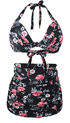 Angerella Retro Halter Neck Polka-Punkt Badeanzug mit Hoher Taille Bikini Set Schwarz