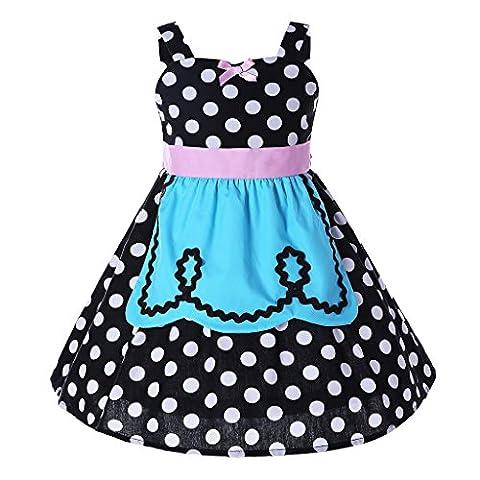 Pettigirl Mädchen Prinzessin Kleider Polka Punkt SchickAnkleiden Halloween Party Dirndl Kleider 6 (Ziemlich Weihnachten Kleider Für Mädchen)