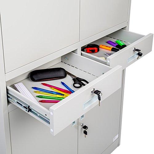 TecTake Aktenschrank mit 2 Schrankabteilen und 2 Schubladen abschließbar (HxBxT) 180x90x40 cm - 5