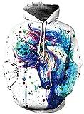 Ocean Plus Herren Kapuzenpullover Lebensecht 3D Grafik Hoodie mit Kängurutasche Pullover mit Kapuze Sweat Hood (S/M (Brustumfang: 112-132CM), Einhorn)