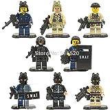 8pcs SWAT Militar Minifiguras Guerra Mundial II Falcon Commando Ejército soldados Policía bloques de construcción sets modelo