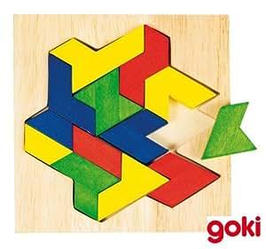 Puzzle mosaique en bois en forme d'origami, 13 pièces
