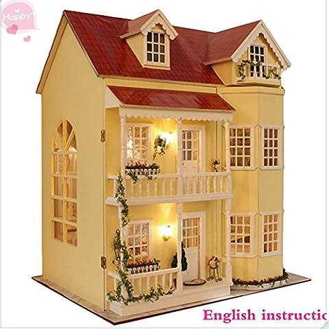 DIY de madera casa de muñecas en miniatura de artesanía kit-large Villa & muebles