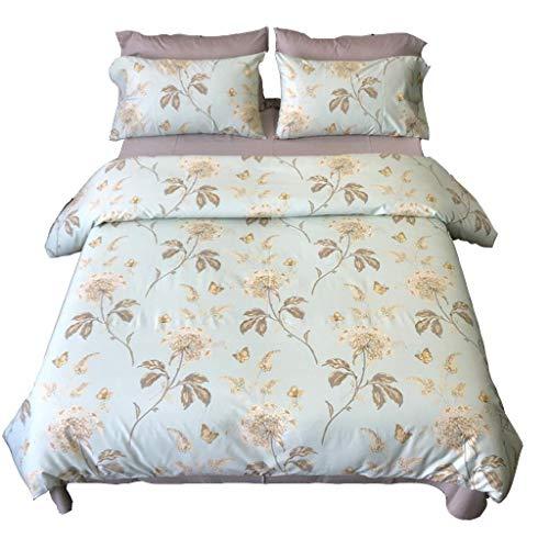 twäsche, Kissenbezüge, Baumwollbettwäsche 4-teilig, pflegeleichtes Doppelbett, superweich, einfach, Blauer Schmetterling, Liebesblumen-Schlafzimmer-Set (Größe: 2,0 M Bett) ()
