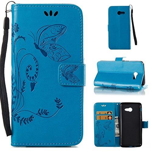 EKINHUI Case Cover Horizontale Folio Flip Stand Muster PU Leder Geldbörse Tasche Tasche mit geprägten Blumen & Lanyard & Card Slots für Samsung Galaxy J5 2017 American Edition ( Color : Darkblue ) Blue