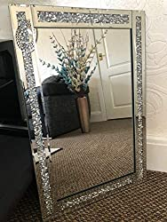 LARGE JEWEL WALL MIRROR LOOSE DIAMANTE NEW CRYSTAL SQUARE DECOR MIRROR GIFT