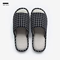fankou Slippers Women Indoor Summer Home Anti-Slip Cotton Linen Slippers Male Couples Home Floor Slippers,220 [21CM], Black