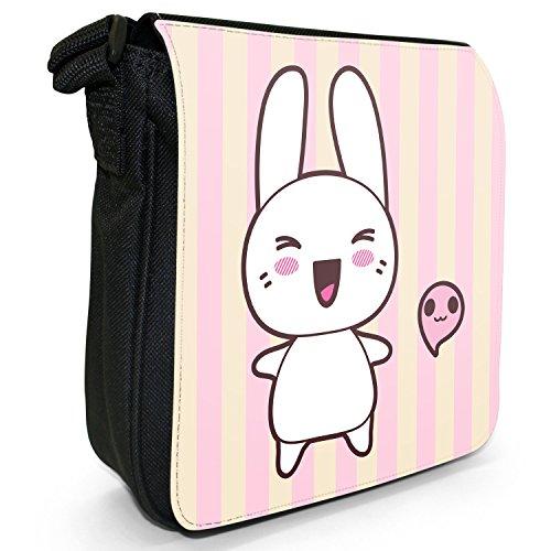 Funny & motivo coniglietti Kawaii Pink-Borsa a tracolla in tela, piccola, colore: nero, taglia: S Nero (Laughing Happy Kawaii Rabbit)