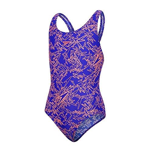 Speedo Mädchen Boom Allover Badeanzug, Mehrfarbig (Ultrasonic/Fluo Orange), 164 cm (Herstellergröße: 32)
