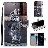 Miagon Flip PU Leder Schutzhülle für Huawei P10 Lite,Bunt Muster Hülle Brieftasche Case Cover Ständer mit Kartenfächer Trageschlaufe,Katze Tiger