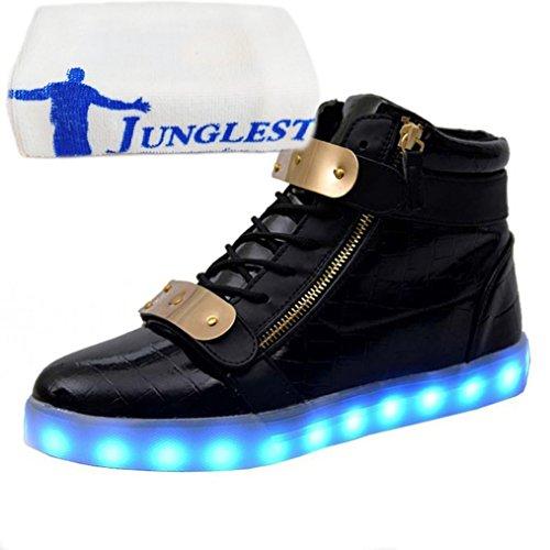 (Présents:petite serviette)JUNGLEST® 7 Couleur Mode Unisexe Homme Femme USB Charge LED Lumière Lumineux Clignotants Chaussures de m Noir