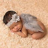 HENGSONG Baby Nette Haarband Stirnband Blumen Engel Flügel Kostüm Fotografie Props (Grau)