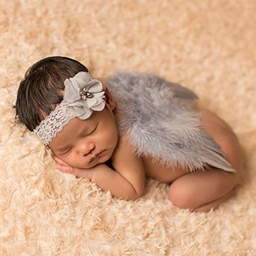 HENGSONG Baby Nette Haarband Stirnband Blumen Engel Flügel Kostüm Fotografie Props (Grau) (Lange Engelsflügel Kostüm)