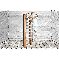 Madera maciza - haya. ¡Construcción robusta! Zona de juegos de madera para interior BB-02-220 Escalera sueca Complejo deportivo de gimnasia
