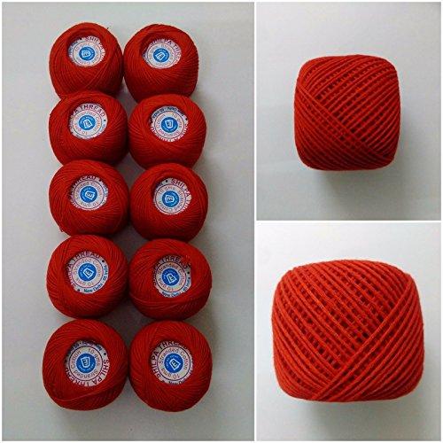 4Ply –, groß, Strand von 10–100% Baumwolle –, Crochet Lace, Faden Zahnseide mit Stickerei Kreuzstich-braun orange), 100g, Farbe: Rot, Grün, Blau, Gelb, baumwolle, rot, 10 Balls - 100 Grams Total (Gewicht Ply 4)