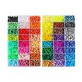 Kehuahsina 48 Perlas Hama de color 9600pcs Perler Perlas de 5 mm Perlas de fusible 4 Plantilla + 5 Papel de hierro + Pinzas Regalo de juguete de Rompecabezas