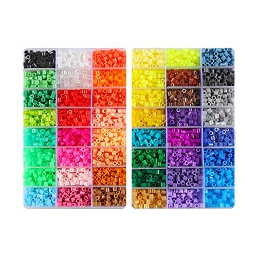 KEHUASHINA Kinder DIY Spielzeug MIDI Fuse Beads Größe 5mm 4800PCS 48 Farbe Kunststoff-Box mit 4St-Bügelpapier Perler Perlen