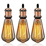 GreenSun LED Lighting 3 Set Retro E27 Lampenfassung Lampensockel E27 Fassung Halter mit E27 ST64 Edison Warmweiß Glühbirne als Dekolampe Hängeleuchte Pendelleuchte Beleuchtung, Rot Antique Brass