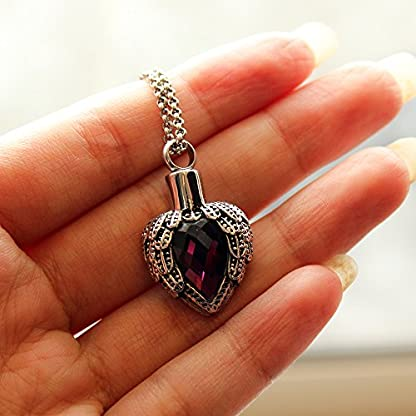Zahara Pet Memorial Urn Necklace (20 Inches) with Velvet Pouch & Funnel | Angel Heart Amethyst Pendant + Chain 5
