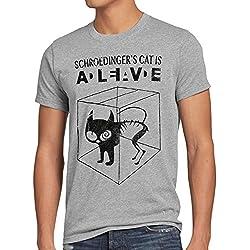 style3 Gato de Schrödinger Camiseta para hombre T-Shirt sheldon, Talla:L;Color:Gris brezo