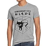 style3 Gato de Schrödinger Camiseta para Hombre T-Shirt Sheldon, Talla:S;Color:Gris Brezo