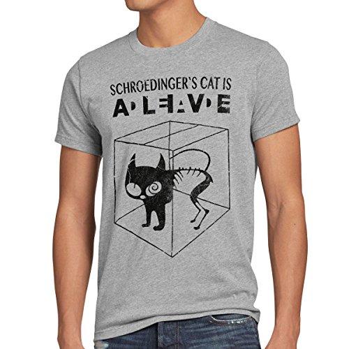 style3 Gato de Schrödinger Camiseta para hombre T-Shirt sheldon, Talla:M;Color:Gris brezo