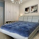 Schaffell Teppich 100% Reine Wolle Matratze Yoga-Matte (5-8 Cm Haarlänge),Blue-90 * 180cm(35.4''*70.8'')