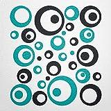 WANDfee® Wandtattoo Kreise Punkte 50 Aufkleber FARBWUNSCH Wandaufkleber Kinderzimmer Wohnzimmer Flur Fliesenaufkleber Bad Badezimmer Küche