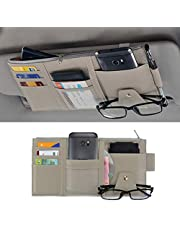 STHIRA® PU Leather Multi-Function Car Space Sun Visor Organizer Hanging Phone Storage Pouch Holde (Grey)