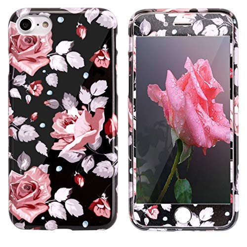 ZXK CO Flores Funda iPhone 7/8 + Protector pantalla