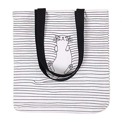 (Moolecole Art Und Weisefrauen nettes Muster Segeltuch Handtaschen Tote Einkaufen Schulter Beutel Schlafende Katze)