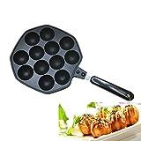Takoyaki Pan, KOLARK Bac anti fourrage en alliage d'aluminium moulé antidérapant Takoyaki Maker, 12 trous