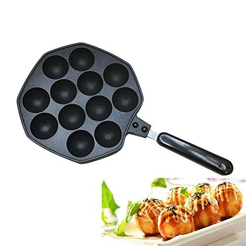 Takoyaki Pfanne, KOLARK Nonstick Guss Aluminiumlegierung Backblech Takoyaki Maker, 12 Löcher -