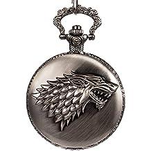 SIBOSUN Pocket Watch Steampunk Wolf Wolves Pattern Mens Chain Box Black Quartz Arabic Numerals