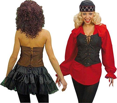CORSET SUEDETTE BLK/BROWN FANCY DRESS (Fancy Korsett Dress)