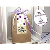 Ostern Set 20 Stück Geschenktüten Kraftpapier zum Befüllen mit selbstklebender Banderole dots Frohe Ostern, Aufkleber