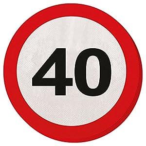 CREATIVE Traffic Sign Fiesta de cumpleaños Servilletas de Papel (20Unidades), diseño de 40cumpleaños