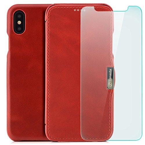 zanasta Echt Ledertasche iPhone X Lederhülle + Panzerglas Echt Leder Tasche Hülle Premium Schutzhülle Flip Case mit Klappverschluss Glattleder Oberfläche | Vintage Braun Rot
