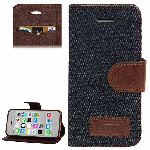 Mxnet Denim Texture Horizontale Flip Leder Tasche mit Halter & Kreditkarte Slots für iPhone 5C rutschsicher Telefon-Kasten ( Color : Dark Blue - Kreditkarten-telefon-kasten 5c Iphone